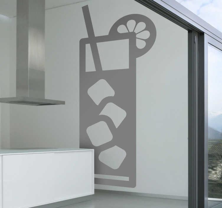 TENSTICKERS. 冷たい飲み物の壁のステッカー. 氷の冷たい飲み物を示す爽やかな飲み物の壁のステッカー!このモノクロの壁のステッカーは、あなた自身のバー、カフェ、または家を飾るのに最適です。この素晴らしいデザインでより多くの顧客を引き付ける!
