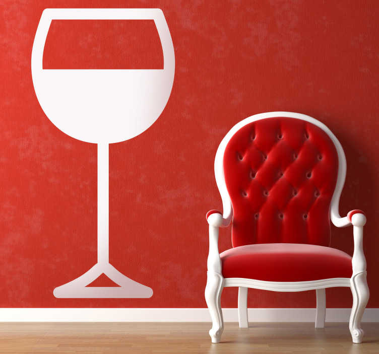TenStickers. Wandtattoo Weinglas. Dekorieren Sie Ihr Zuhause mit diesem Weinglas als Wandtattoo! Wein ist ein absolutes Genussmittel und wird mit gutem Essen verbunden