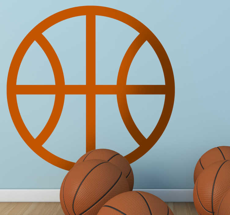 TenStickers. Naklejka symbol piłki koszykowej. Naklejka dekoracyjna, która przedstawia jednokolorowy symbol piłki do koszykówki. Obrazek jest dostepny w wielu kolorach i wymiarach.