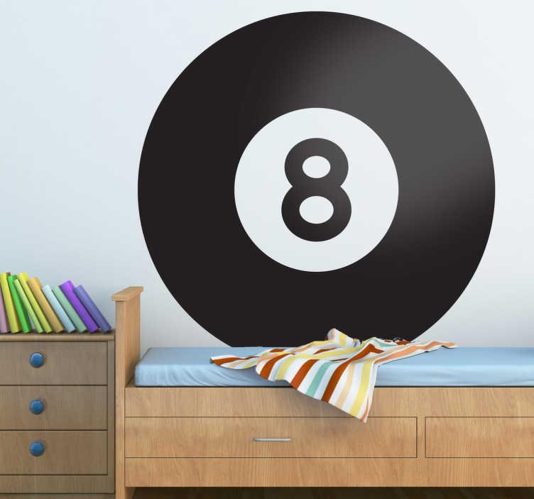 TenStickers. Sticker poolen snooker biljart zwarte bal. Een leuke muursticker van een zwarte biljartbal met het nummer 8. Ben jij een fan van biljart, snooker of poolen.