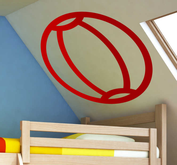 TenStickers. Sticker icône ballon plage. Stickers pour enfant illustrant un ballon de plage. Dessin réalisé par la Brigada Creativa.Super idée déco pour la chambre d'enfant et tout autre espace de jeux.