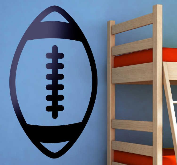 TenStickers. Sticker icône ballon rugby. Stickers décoratif représentant une balle de rugby réalisé par la Brigada Creativa.Sélectionnez les dimensions de votre choix pour personnaliser le stickers à votre convenance.Jolie idée déco pour les murs de votre intérieur de façon simple.