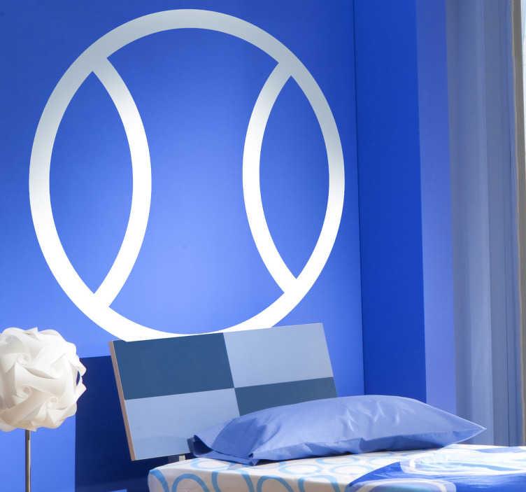 TenStickers. Sticker decorativo icona palla da tennis. Adesivo murale che raffigura l'icona di una comune palla da tennis. Ideale per decorare le pareti di una palestra. Un disegno originale della Brigada Creativa.