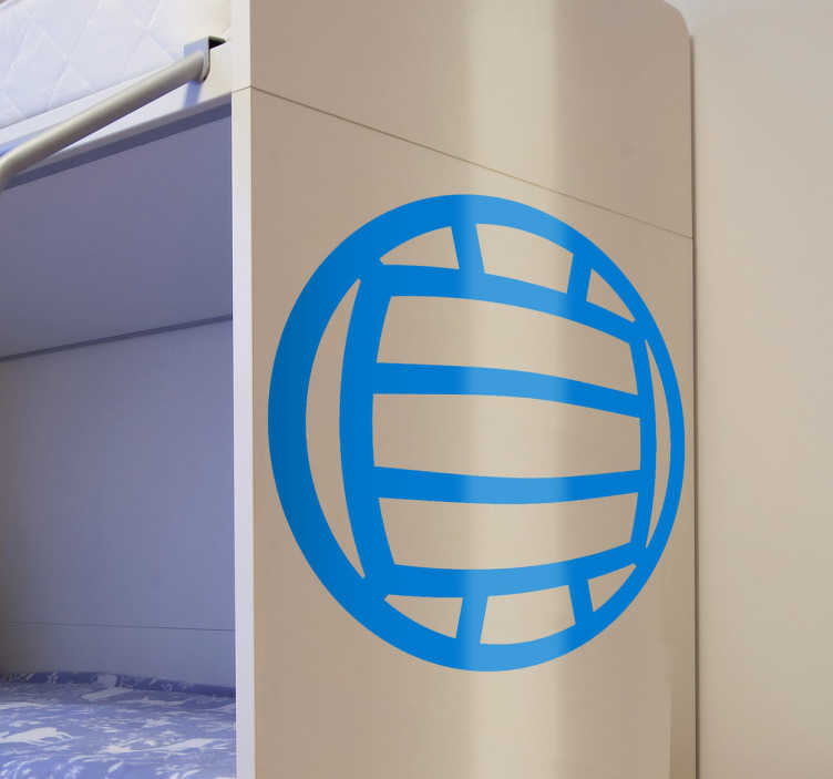 TenStickers. Adesivo de bola de voleibol. Se gosta de desportos, aqui você tem um adesivo desportivo com uma ilustração de uma bola de voleibol em silhueta.