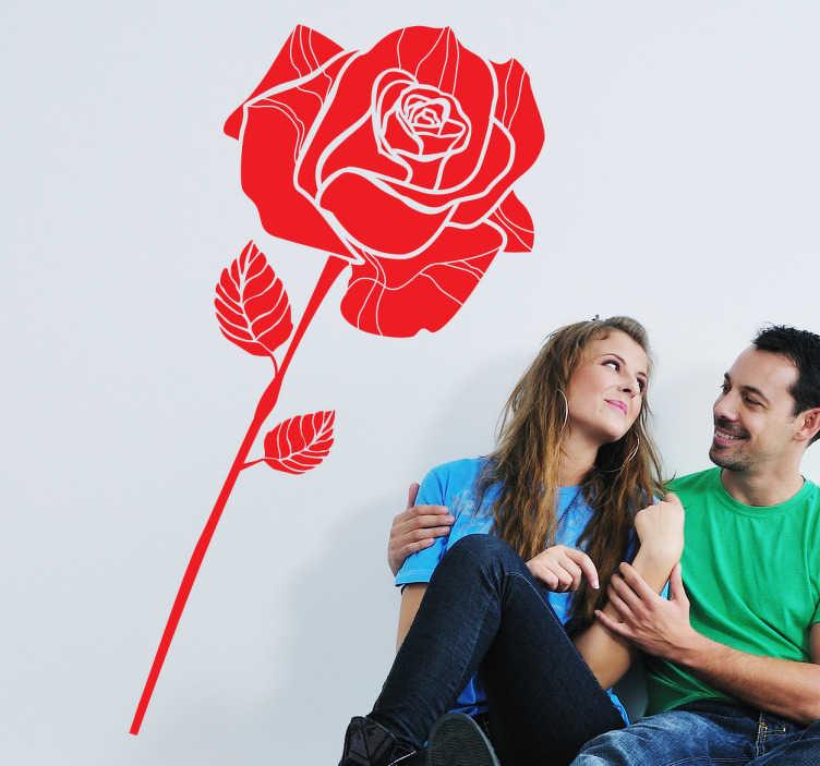 TenStickers. Naklejka dekoracyjna pojedyńcza róża. Naklejka na ścianę, która przedstawia pojedyncza czerwoną różę.