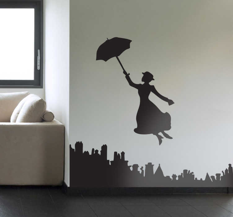 TenStickers. Mary Poppins Silhouette Sticker. A silhouette decal illustrating the famous Disney nanny form London that travels with her magic umbrella. Great kids sticker for the little ones!