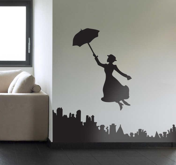 TenStickers. Sticker Mary Poppins. Pour les fans de Disney, la célèbre nurse survole Londres et votre salon à l'aide de son parapluie magique.