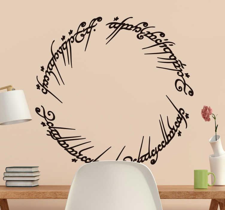 TenStickers. Vinil decorativo texto Senhor dos Anéis. Vinil decorativo circular do texto em idioma élfico que aparece no anel da saga de Tolkien, Senhor dos Anéis. Adesivo de parede.