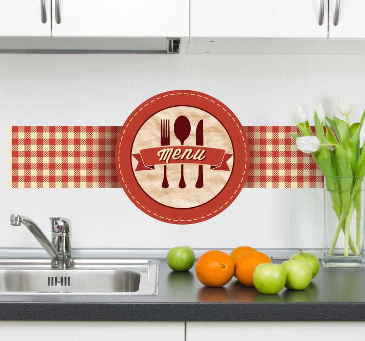 TenStickers. Sticker retro logo menu. Prachtige decoratie voor uw bar, restaurant of zelfs keuken. Personaliseer uw favoriete plaats net deze vintage muursticker met vrolijke kleuren.
