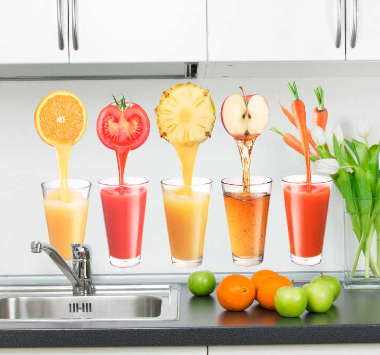 TenStickers. Juices Kitchen Sticker. If you like healthy and natural drinks this photograph wall mural is ideal for your kitchen. A creative design from our collection of tile stickers.