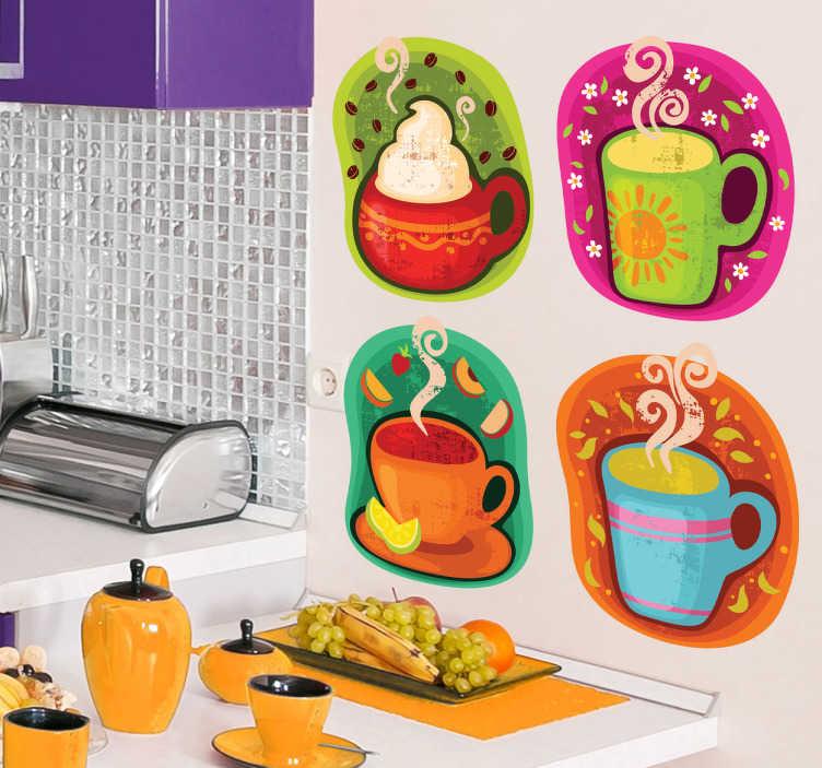 TenStickers. Sticker tassen koffie. Als u een liefhebber bent van koffie en andere warme dranken, dan zal u zeker tevreden zijn met deze muursticker.
