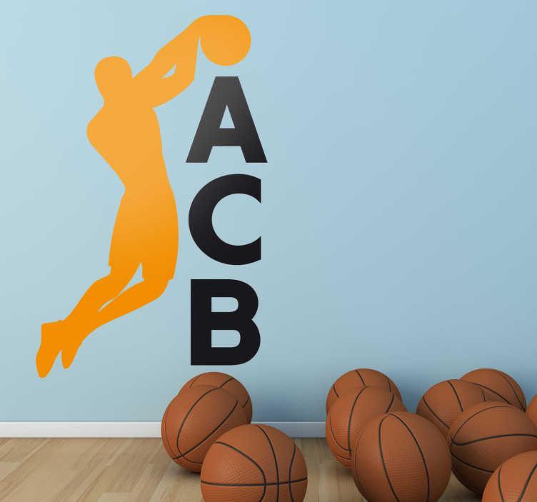 TenVinilo. Vinilo decorativo logo ACB. Adhesivo del logotipo de la liga nacional de baloncesto, para los seguidores del básket español.