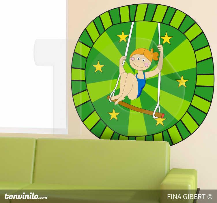 TenStickers. Sticker kinderkamer circus schommel sterren. Een leuke muursticker van een acrobaat uit het circus dat bezig is met het opvoeren van zijn show! Dit design is ontworpen door Fina Gibert.