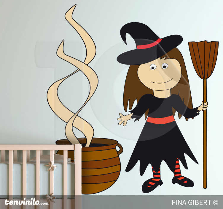 TenStickers. Witch Halloween Sticker. A decorative decal of a friendly witch designed by Fina Gilbert! A superb wall decoration for the Halloween season. Available in 50 colours.