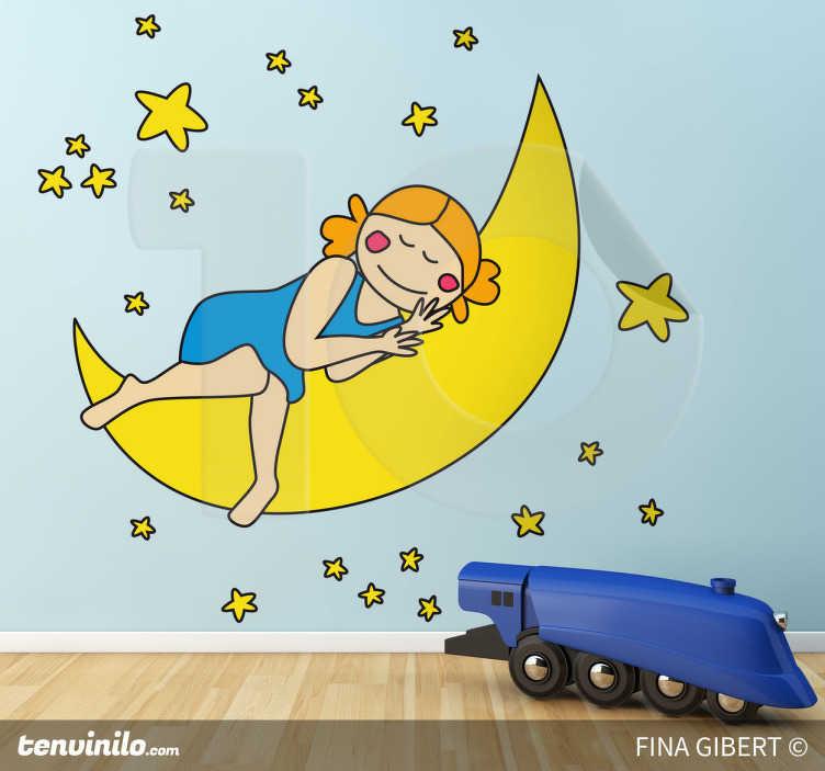 Naklejka dziecięca dziewczynka księżyc
