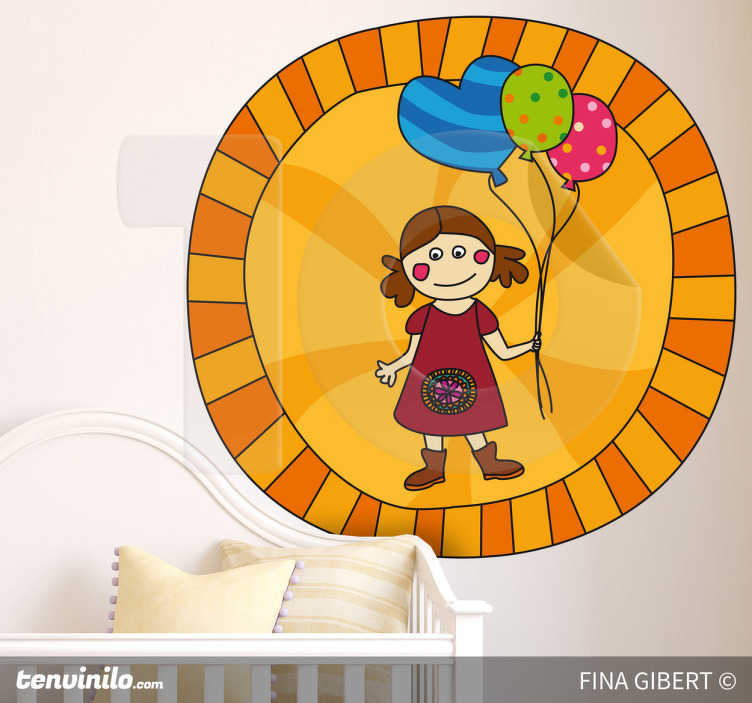 TenStickers. Kinderen meisje ballon sticker. Op deze vrolijke muursticker zie je een klein meisje met bruine laarsen, 2 staartjes en een jurkje aan! Ze houdt 3 vrolijke balonnen vast!