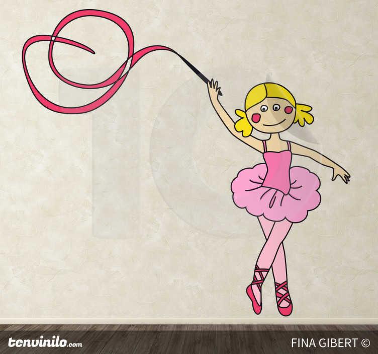 TenStickers. Ballerina met lint sticker. Decoratieve en vrolijke sticker van een ballerina in een roze pakje met een tutu en een roze lint waarmee ze aan het dansen is!