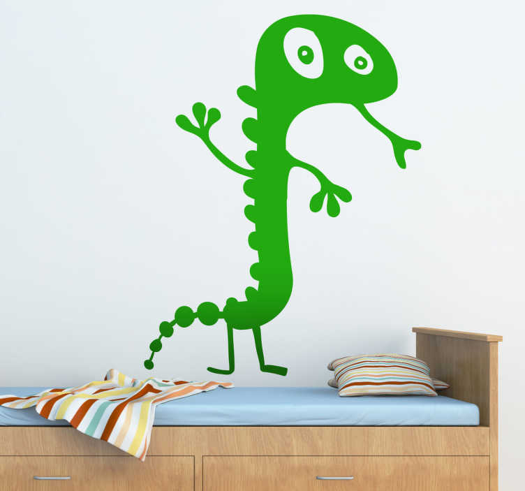 TenStickers. Kids Gecko Wall Art Sticker. A playful illustration of a gecko standing and sticking out its tongue. A decorative design from our collection of gecko wall art stickers.