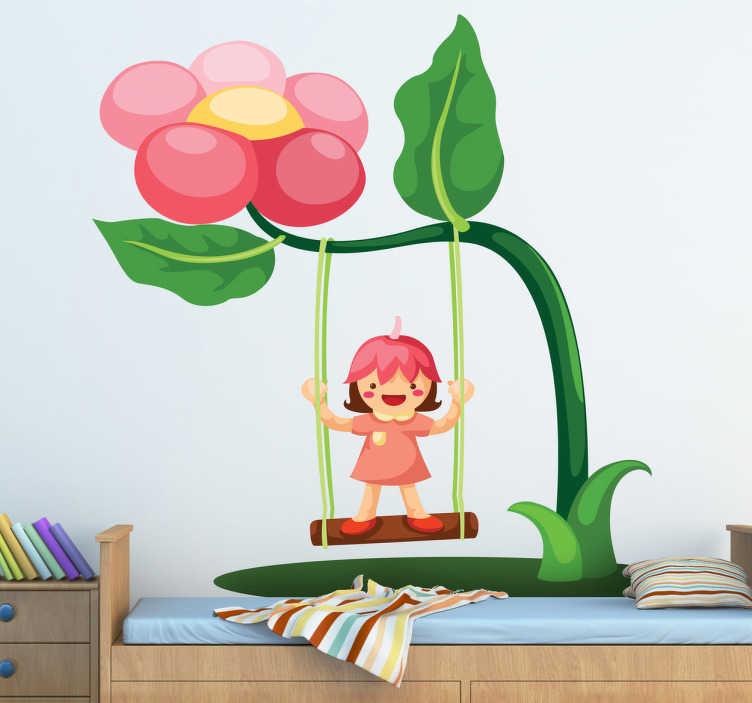 TenStickers. 花秋千儿童贴纸. 儿童墙贴 - 为您的孩子在家里摆动花朵的装饰特征。你的孩子会喜欢这个花朵秋天贴花的卧室。