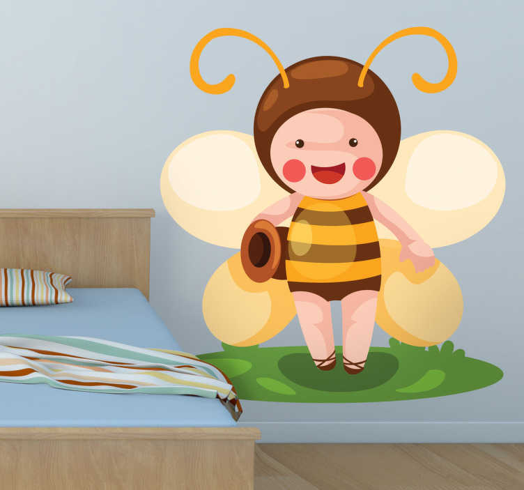 TenStickers. Kids Bee Costume Wall Sticker. Kids Wall Stickers - Playful illustration of a kid dressed as a bee. Ideal for decorating areas for kids. Available in various sizes.