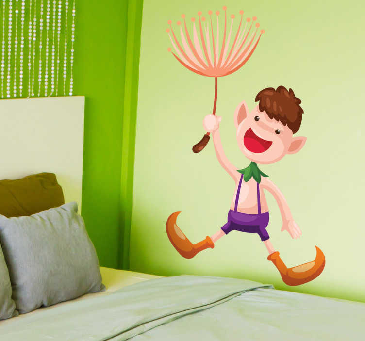 TenStickers. Sticker kind bloem vliegen. Deze sticker omtrent een jongen met een bloem in zijn hand waarmee hij vliegt. Ideaal voor kinderen!