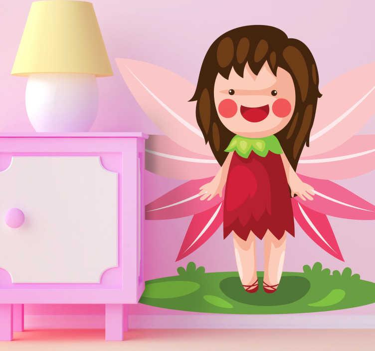 TenStickers. Sticker kinderkamer fee roze. Muursticker van een fee met een roze kleedje, prachtige vleugels en rode wangen. Een prachtige wandsticker van een vrolijke fee voor decoratie.