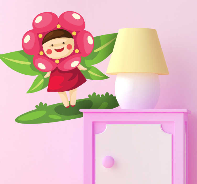 TenStickers. 꽃의 요정 아이들 스티커. 아이 스티커 - 포리스트의 개 구연주 캐릭터. 아이들 침실을 꾸미고 지역을 놀기 위하여 이용 될 수있는 환상 벽 스티커.