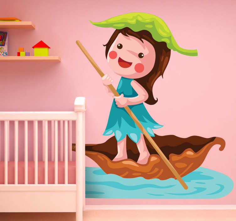 TenStickers. Girl Sailing Kids Sticker. A kids sticker illustrating a girl sailing in a small boat made of a dry leaf.