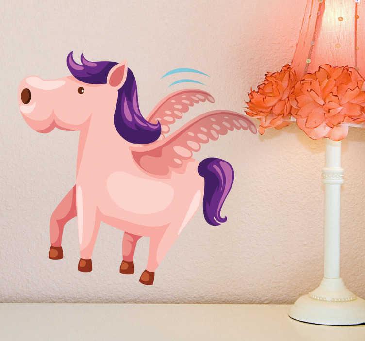 TenStickers. Muursticker kind gevleugeld paard. Deze muursticker illustreert een prachtig gevleugeld paard. Ideaal voor kinderen, zeker voor degenen die van paarden houdt.