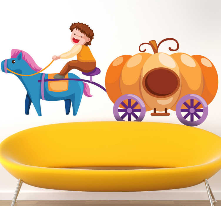 TenStickers. Pumpkin Carriage Kids Stickers. A fun decal of a pumpkin carriage which is perfect for every little girl! it may not be Cinderella's carriage but this one will do the trick!