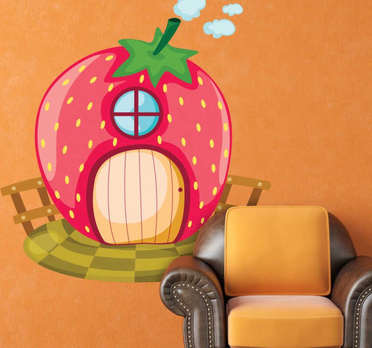 TenStickers. Sticker kinderen aardbeienhuisje. Een leuke cartoon sticker voor de decoratie van de speelhoek of kinderkamer! Een leuke wandsticker van een aardbeienhuisje!