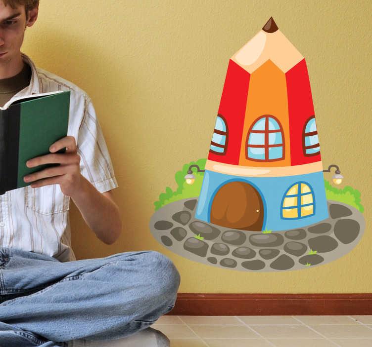 TenStickers. Stifthaus Aufkleber. Mit diesem fantasievollen Stifthaus als Wandtattoo können Sie dem Kinderzimmer einen ausgefallenen Look verleihen.