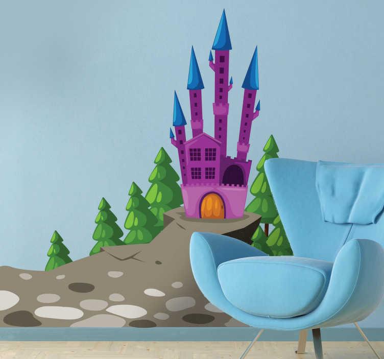 TenStickers. Sticker kwaadaardig kasteel. Muursticker met hierop het kasteel van de vijand op afgebeeld. Prachtige wanddecoratie van een eng en akelig kasteel.