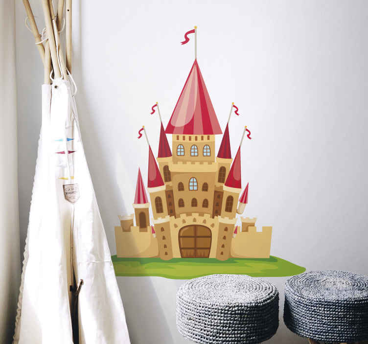 TENSTICKERS. 子供のおとぎ話の城壁ステッカー. 幼児の寝室のステッカー - 子供の城デカールは、自分の寝室を飾る!このおとぎ話のステッカーは、寝室に魔法のような雰囲気を作り出すのに最適です。