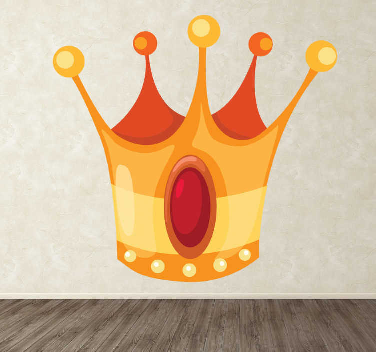 TenStickers. Sticker kinderkamer koning koningin kroon. Decoreer de slaapkamer van uw zoon of dochter met deze leuke wandsticker van een prachtige kroon met een rode edelsteen.