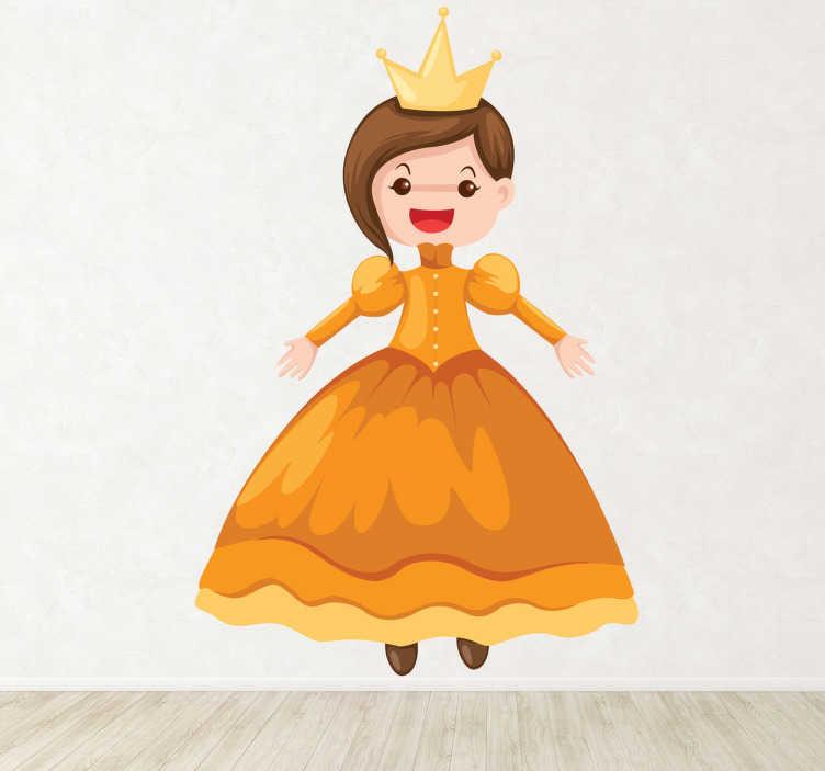 TenStickers. Kindersticker Princes in Gouden Jurk. Een leuke muursticker van een vrolijke princes met een gouden kleed en prachtige kroon.