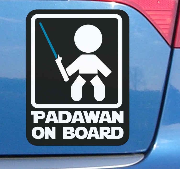 TenStickers. Adesivo bimbo a bordo personalizzato Padawan . Decalcomania decorativa in vinile per auto da attaccare al finestrino o al cofano di qualsiasi veicolo per informare gli altri utenti della strada che un padawan è a bordo.