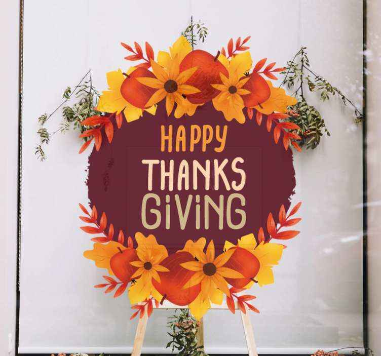TenStickers. Thanksgiving leaf paint window decal. Decorative business window sticker that can be placed in front of a business place to promote thanks giving sales. It is original and easy to apply.