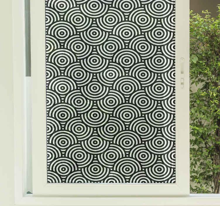 TenVinilo. Vinilo para ventanas círculos profundidad. Increíble vinilo para ventanas círculos profundidad en color blanco y negro para que decores tu casa ¡Medidas personalizables ¡Envío exprés!