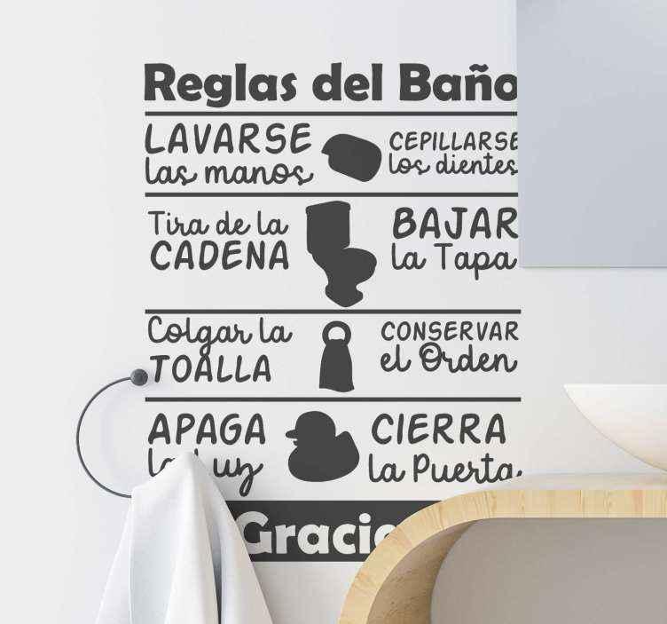 TenVinilo. Vinilo frase de las reglas del baño. Frase para la pared de normas del baño para decorar tu negocio u hogar y de paso advertir a tus visitas de una forma divertida ¡Envío exprés!