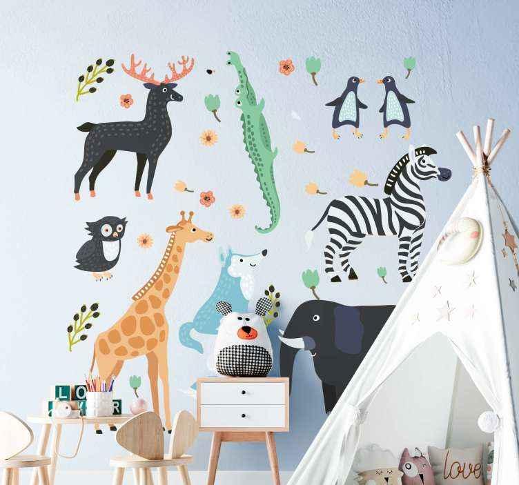 TENSTICKERS. 公園の赤ちゃんのウォールステッカーで幸せな動物. これらのさまざまな動植物で部屋を素敵に見せるための、子供の寝室用の楽しいさまざまな動物のステッカー。