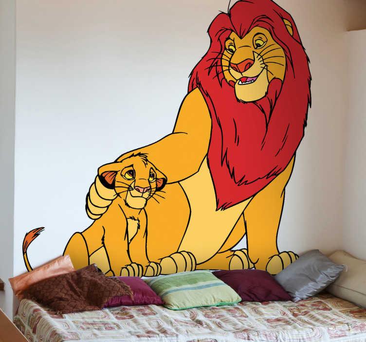 TenStickers. Simba a samolepka lví králové. Fanoušek lva krále? Pak tato nálepka byla vyrobena právě pro vás! Objevte dětskou nálepku simba a krále lva, abyste zjistili, jak ohromeny budou vaše děti, když je objevíte.
