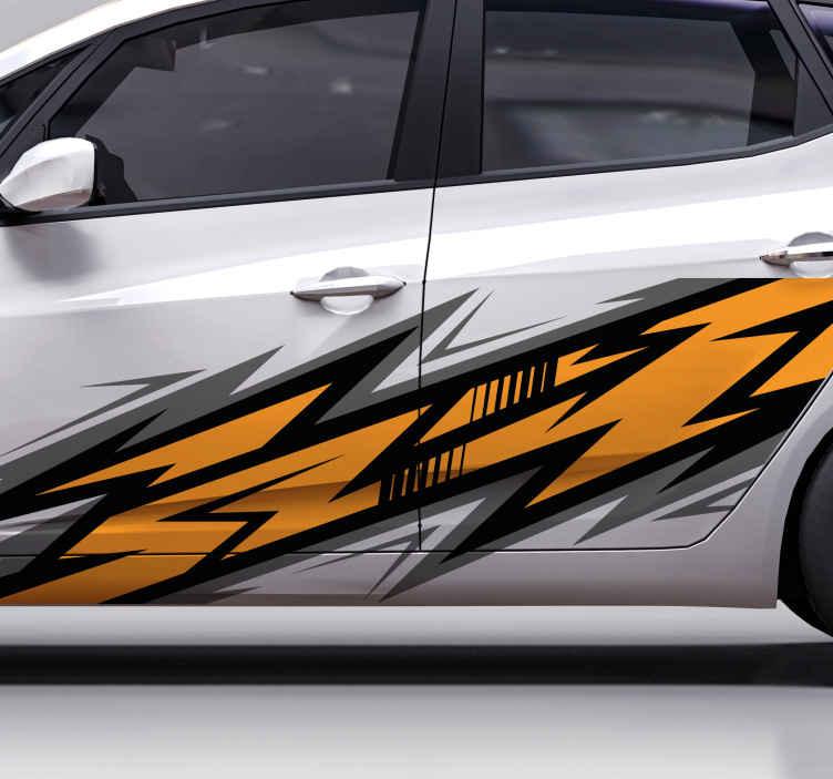 TENSTICKERS. スポーツカーデカールラップデザインカーデカール. あなたの車のためのスポーツカーデカールラップデザイン。車のドアスペースを飾るカラフルでかわいらしいデザイン。必要なサイズの寸法で利用できます。