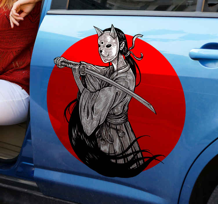 Ninja Girl Silhouette On Red Background Tenstickers Wipe clean the window or surface you are applying the decal small decal installation: ninja girl silhouette on red background car decal