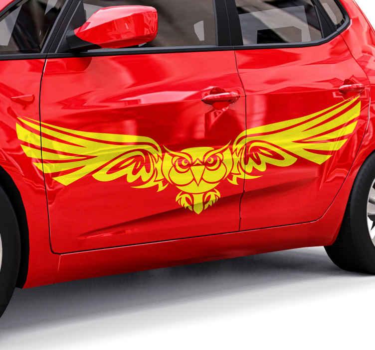 TenVinilo. Pegatina coche búho tribal monocolor. Pegatina coche de silueta de búho en forma de un boceto y será perfecto para decorar tu coche de carreras o juvenil ¡Envío express!