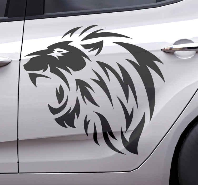 TENSTICKERS. 部族のライオンプロファイル車のデカール. 車の窓に勇気、激しさ、力を描いたこの部族のライオンアートステッカーを飾るだけで、その傑出した外観のすべてが大好きになります。