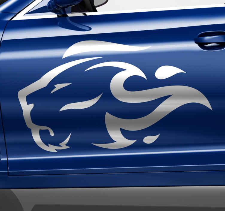 TENSTICKERS. ライオンの炎のシルエットカーデカール. 車の装飾のための動物の抽象芸術のデザイン。炎のライオンを描いたシルエットデザイン。それは美しく、力と勇気を表しています。