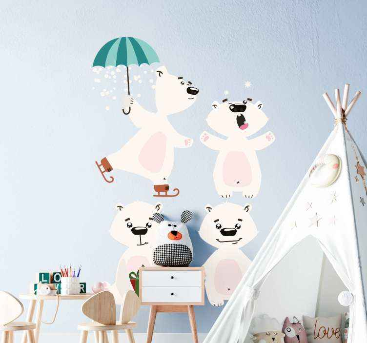 TenVinilo. Vinilo para niños osos polares nórdicos bailando. Vinilo para niños de osos polares ideal para habitación infantil. Diseño de osos polares felices bailando con paraguas ¡Envío express!