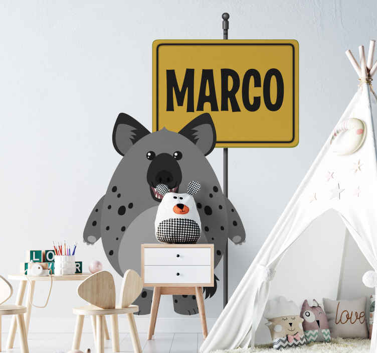 TENSTICKERS. 名前の野生動物ハイエナ子供の寝室の壁のステッカー. 名前の子供のステッカーと野生のハイエナ動物。あなたの子供が野生動物を愛し、見るのを楽しんでいるなら、このデザインは素晴らしいアイデアでしょう。