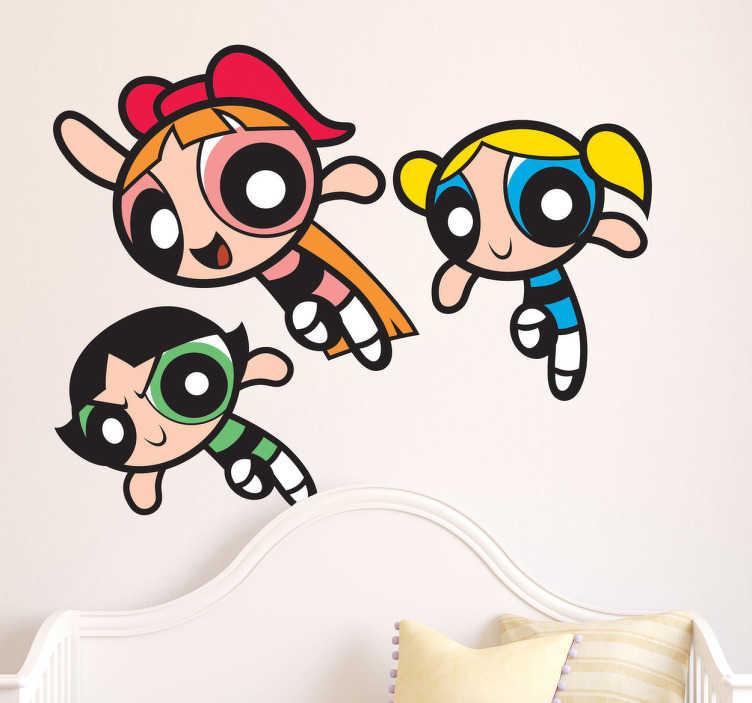 TenStickers. Powerpuff dívky domácí nálepka pro děti. Víte, bubliny, květy a křupavý mošt? Budou umístěny na stěnu ve formě štítku pro děti. Rychlé doručení.